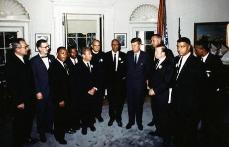 King (third from left) and other civil rights leaders met with President John F. Kennedy at the White House.