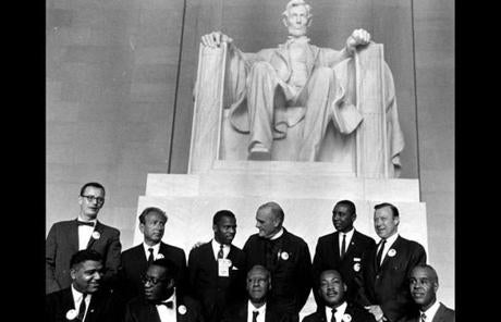 Civil Rights leaders posed in the Lincoln Memorial during the