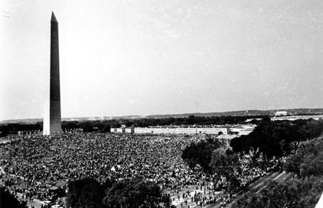 Demonstrators gathered at the Washington Monument grounds, before marching to the Lincoln Memorial.