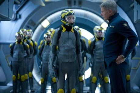"Asa Butterfield and Harrison Ford in ""Ender's Game."""