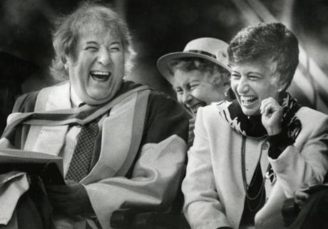 Mr. Heaney shared a laugh with then-Radcliffe president Matina Horner at Harvard in 1986.