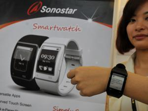 A smartwatch made by Sonostar, a Taiwanese company, was displayed at the Computex trade fair in Taipei in June.