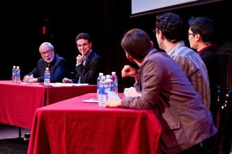 From left: Harvard Business School Professor Robert Eccles, You're the Expert Host Chris Duffy, Comedians: Robert Woo, Zach Sherwin, Myq Kaplan.