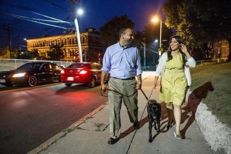Boston mayoral candidate Felix G. Arroyo and his wife, Jasmine Acevedo, went for a walk with their dog Jesse in their neighborhood in Jamaica Plain.