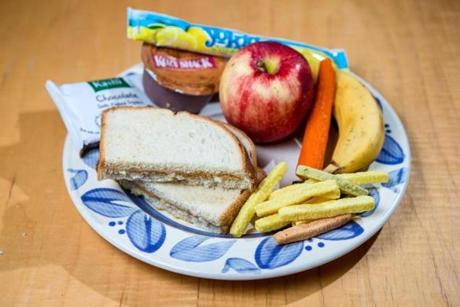 David and Liam Austin's lunches from mom Colleen Scanlan look like this: peanut butter sandwich, brownie, pudding, yogurt, fruit, carrot, and veggie sticks.