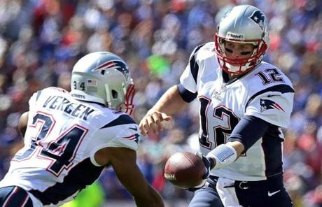 Brady handed off to running back Shane Vereen in the third quarter.