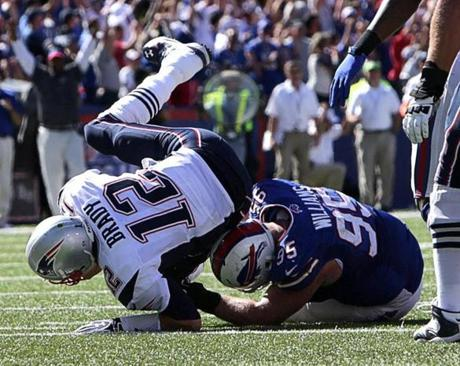 Brady took a hit from defensive tackle Kyle Williams in the fourth quarter.