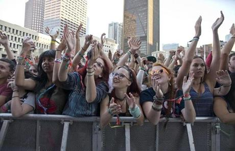 Fans enjoyed the music of Major Lazer during their performance Sunday.