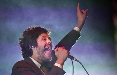 Homegrown group Passion Pit was one of the headlining acts. The other was Vampire Weekend. Pictured: Lead singer Michael Angelakos.