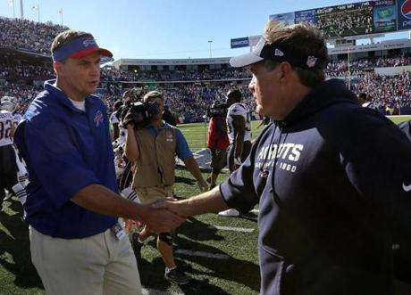 Bills head coach Doug Marrone and Belichick shook hands at the end of the game.