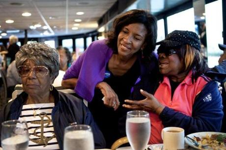 Charlotte Golar Richie spoke with Rita Dixon (right) and Florence Wright as they sat down for lunch.