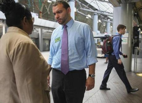 Felix Arroyo, one of the candidates running for mayor of Boston, spoke with Damari Jimenz at Ruggles MBTA Station in Boston Thursday.