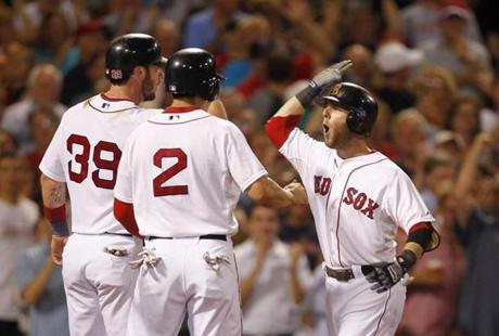 The panic came to a halt when the Red Sox returned to Fenway on Sept. 13 and beat up on the Blue Jays 18-6. Pedroia's three-run home run in the sixth inning was one of the key hits.