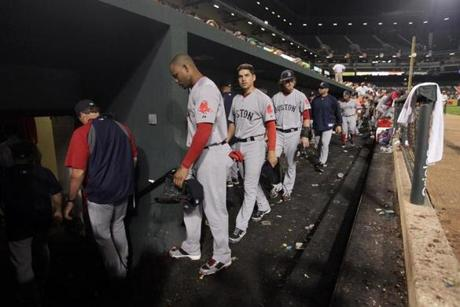 The Red Sox' lead in the playoff race evaporated when they headed back to the visitors' dugout at Camden Yards after a 6-3 loss to the Orioles on Sept. 26. The Rays' corresponding win against the Yankees brought them into a tie for the wild card.