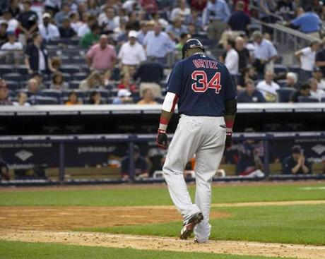 Ortiz slumped back to the dugout after grounding out in the seventh inning of a 9-1 loss to the Yankees on Sept. 24.