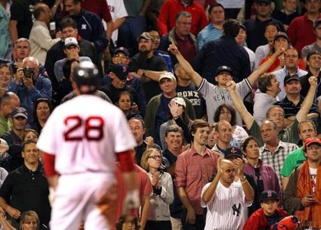 The Red Sox' slide began on Sept. 1 in a 4-2 loss to the Yankees. An incredulous Adrian Gonzalez watched a called third strike as the Yankees and their fans celebrated a series win at Fenway.