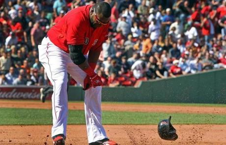 The Red Sox got no relief in the opener of a doubleheader with the Orioles on Sept. 19. Ortiz slammed his helmet in frustration after a controversial call denied the Red Sox a run in a game they'd lose 6-5.