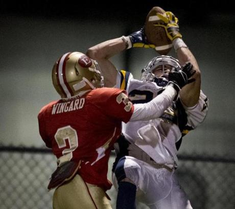 DJ Sperzel hauled in a 23-yard touchdown pass in the fourth quarter that padded Xaverian's lead.