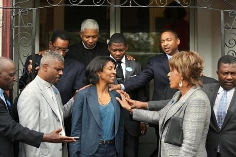 Candidate charlotte golar richie to pray in front of grant ame church