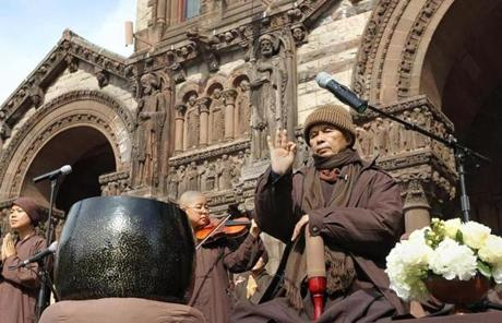 International peace activist, author, and  Zen Buddhist monk Thich Nhat Hanh meditated in Copley Square Sunday.