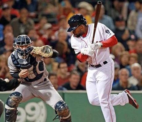 Jackie Bradley Jr. was hit by a pitch in the seventh inning by Yankees reliever Mike Zagurski (not pictured).