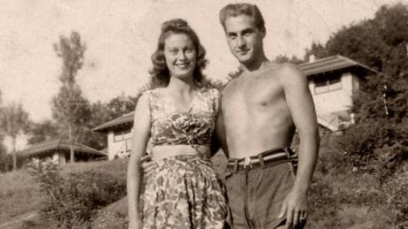 Comedian Sid Caesar and his financee, Florence, at Avon Lodge in the Catskills.
