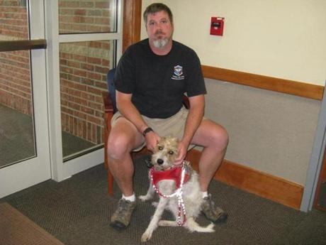 James Glaser, an Iraq war veteran, and his service dog, Jack, a Jack Russell terrier, were turned away from an Oxford diner.
