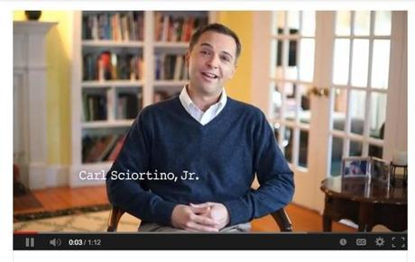 """Dad's in the Tea Party,"" State Representative Carl Sciortino Jr. says in the ad."