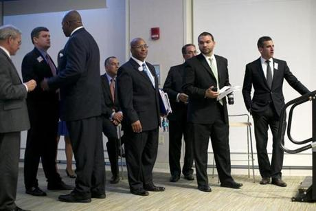 Dorchester, MA - 9/19/2013 - Boston mayoral candidates prepared to step onto the stage for the forum. Boston mayoral candidates came to a forum at UMass Boston in Dorchester, MA on Thursday, September 19, 2013. For a story about a day in the life of Boston mayoral candidates. (Yoon S. Byun/Globe Staff) Slug: 22mayorday Reporter: n/a LOID: 6.2.1241695048