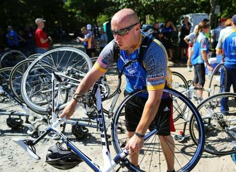 Chris Loiselle and other veterans prepared for the event by biking on Cape Cod Thursday and Friday.