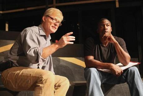 "Director Allyn Burrows (left) and actor Jason Bowen during rehearsal of Actors' Shakespeare Project's ""Romeo and Juliet."""
