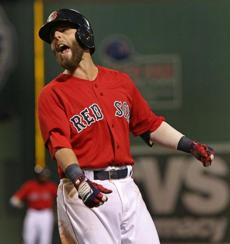 Pedroia was not happy after he hit into a double play to end Boston's fourth-inning rally.