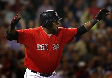 Ortiz used a little body English as he watched his RBI single in the seventh inning.