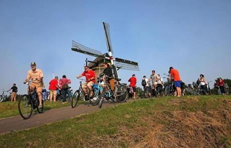 Northeastern University professor Peter Furth led a bike ride just outside of Delft in July.