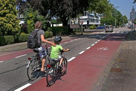 Officials in Zoetermeer, the Netherlands, painted larger bicycle lanes and made other improvements to increase safety at one intersection where a fatal accident occurred.