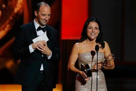 "Tony Hale supports his ""Veep"" costar and fellow winner Julia Louis- Dreyfus."