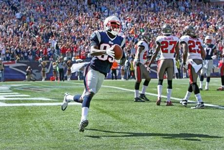 Rookie receiver Kenbrell Thompkins was walking on air after getting his first NFL touchdown catch in the second quarter. He added his second one series later in the Patriots' win.