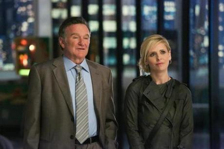 "Robin Williams, Sarah Michelle Gellar in ""The Crazy Ones."""
