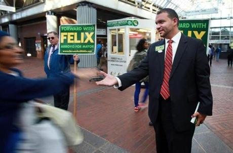 Felix Arroyo received 8.8 percent of the vote.