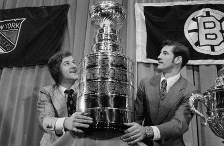 Orr holds the Stanley Cup in 1972.