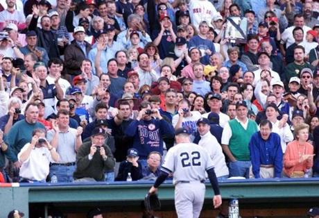 Fans at Fenway Park rained boos down on Yankees pitcher Roger Clemens when he was driven out of Game 3 of the ALCS in 1999.