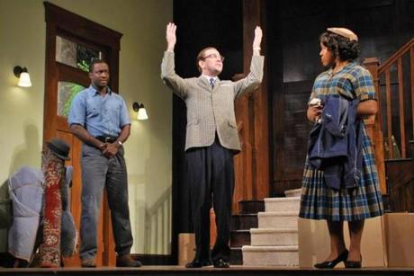 "From left: Andy Lucien, Greg Jackson, and Lynnette R. Freeman in ""Clybourne Park."""
