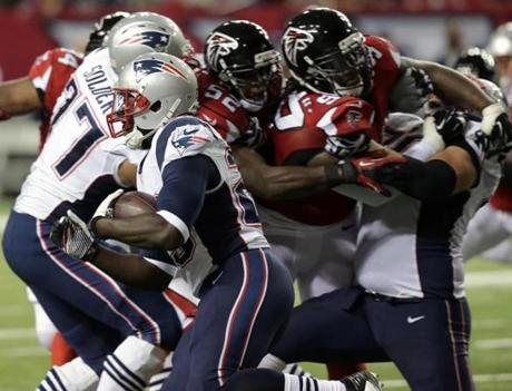 Patriots running back LeGarrette Blount carried for a first down in the second quarter.