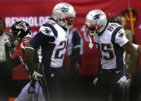 In the fourth quarter, Blount  celebrated his long run for a touchdown with Thompkins.