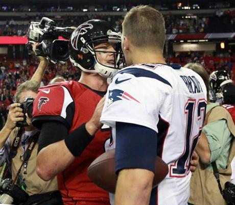Brady  and Atlanta Falcons quarterback Matt Ryan shook hands at the end of the game.