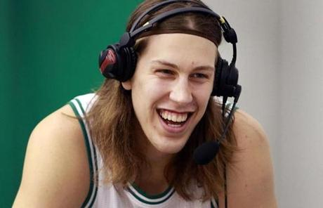 First-round draft pick Kelly Olynyk smiled while doing a radio interview.