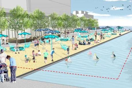Among the ideas Donald Chiofaro has suggested in a redevelopment of the Harbor Garage is a sandy beach.
