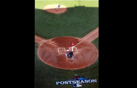 Pitcher Jake Peavy threw a pitch to Ortiz.