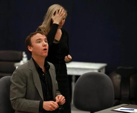 "David Wilson Barnes and Jennifer Westfeldt rehearse a scene for ""The Power of Duff."""