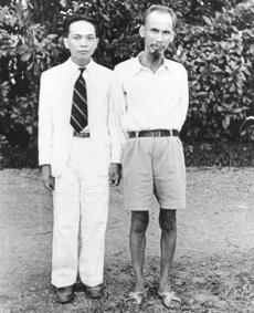 A 1950 photo shows Giap with Ho Chi Minh (right), who became president of North Vietnam.